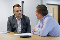 Pictured: Ben Mouncer of Digital Bulletin interviews a member of staff. Wednesday 29 May 2019<br /> Re: DVLA in Swansea, Wales, UK.