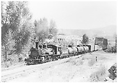 Pilot-end fireman's-side view of RGS #461 having just crossed the Animas River Bridge 451-A with a six-car northbound freight.<br /> RGS  Durango, CO  Taken by Wolf, Dick - 8/20/1948