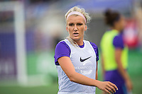 Orlando, Florida - Sunday, May 14, 2016: Orlando Pride midfielder Kaylyn Kyle (6) warms up prior to a National Women's Soccer League match between Orlando Pride and New York Flash at Camping World Stadium.