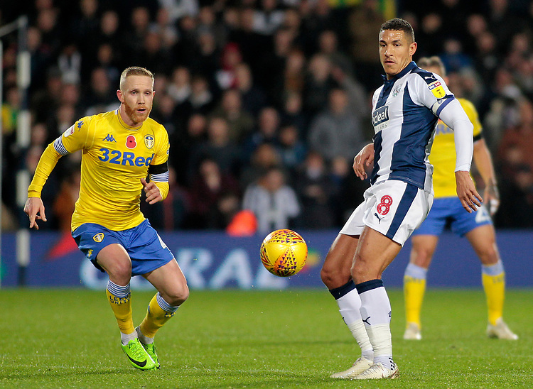 Leeds United's Adam Forshaw chases down West Bromwich Albion's Jake Livermore<br /> <br /> Photographer David Shipman/CameraSport<br /> <br /> The EFL Sky Bet Championship - West Bromwich Albion v Leeds United - Saturday 10th November 2018 - The Hawthorns - West Bromwich<br /> <br /> World Copyright © 2018 CameraSport. All rights reserved. 43 Linden Ave. Countesthorpe. Leicester. England. LE8 5PG - Tel: +44 (0) 116 277 4147 - admin@camerasport.com - www.camerasport.com