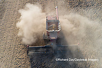 63801-13415 Harvesting soybeans in fall-aerial  Marion Co. IL