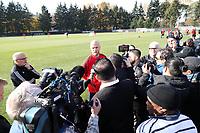 TUKWILA, WA - NOVEMBER 08: Michael Bradley #4 of Toronto FC is surrounded by media at Starfire Sports Complex on November 08, 2019 in Tukwila, Washington.