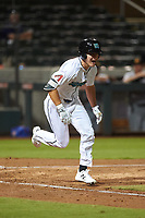 Salt River Rafters Jake McCarthy (5), of the Arizona Diamondbacks organization, runs to first base during an Arizona Fall League game against the Mesa Solar Sox on September 19, 2019 at Salt River Fields at Talking Stick in Scottsdale, Arizona. Salt River defeated Mesa 4-1. (Zachary Lucy/Four Seam Images)