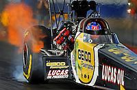 Jan 24, 2009; Chandler, AZ, USA; NHRA top fuel dragster driver Morgan Lucas during testing at the National Time Trials at Firebird International Raceway. Mandatory Credit: Mark J. Rebilas-