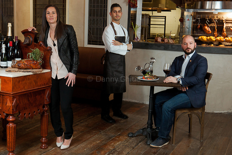 Laurent Kalkotour, center, Leslie Affre, left, and Alexander LaPratt at Beast & Bottles in Brooklyn Heights. <br /> <br /> At left, whole duck feast: Long Island duck, smoked breast with wild honey and lavender.<br /> <br /> Center, whole branzino with grilled lemon, seasonal greens and radishes.<br /> <br /> Back: Charcuterie- selection of housemade terrines (rabbit, pork and foie gras, duck)<br /> <br /> <br /> <br /> Danny Ghitis for The New York Times