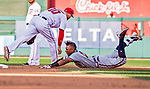 8 July 2017: Atlanta Braves infielder Johan Camargo slides safely into second with a double in the 8th inning against the Washington Nationals at Nationals Park in Washington, DC. The Braves shut out the Nationals 13-0 to take the third game of their 4-game series. Mandatory Credit: Ed Wolfstein Photo *** RAW (NEF) Image File Available ***