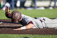 Central Michigan Chippewas shortstop Zach McKinstry (8) celebrates scoring against the Michigan Wolverines on March 29, 2016 at Ray Fisher Stadium in Ann Arbor, Michigan. Michigan defeated Central Michigan 9-7. (Andrew Woolley/Four Seam Images)