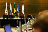 RIO DE JANEIRO, RJ, 10.08.2015 - REUNIAO-COI -  Reunião da Comissão de Coordenação do Comitê Olímpico Internacional, em sua nona visita ao Rio de Janeiro, na sede do Comitê Rio 2016, Cidade Nova, centro da cidade, nesta segunda-feira, 10. Participam da reunião o diretor geral dos Jogos Olímpicos de 2016, Sidney Levy, a presidente da Comissão Nawal El Moutawakel e o diretor executivo do Comitê Olímpico Internacional, Christophe Dubi.(Foto: Gustavo Serebrenick / Brazil Photo Press)