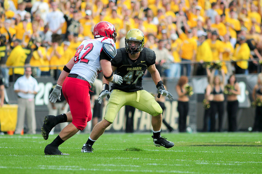 06 September 08: Colorado linebacker Shaun Mohler on a play against Eastern Washington. The Colorado Buffaloes defeated the Eastern Washington Eagles 31-24 at Folsom Field in Boulder, Colorado. FOR EDITORIAL USE ONLY