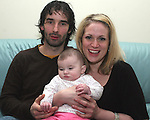 Baby Gretta Kieran Cullen who was born with a condition known as Septo-Optic Dysplasis  (Morsiers Syndrome).  Pictured  here with parents Maria Kieran and Thomas Cullen...Photo NEWSFILE/Jenny Matthews.(Photo credit should read Jenny Matthews/NEWSFILE)....This Picture has been sent you under the condtions enclosed by:.Newsfile Ltd..The Studio,.Millmount Abbey,.Drogheda,.Co Meath..Ireland..Tel: +353(0)41-9871240.Fax: +353(0)41-9871260.GSM: +353(0)86-2500958.email: pictures@newsfile.ie.www.newsfile.ie.FTP: 193.120.102.198.