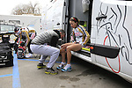 Servetto Giusta Team riders get ready before the start of the Ladies 2017 Strade Bianche running 127km from Siena to Siena, Tuscany, Italy 4th March 2017.<br /> Picture: Eoin Clarke | Newsfile<br /> <br /> <br /> All photos usage must carry mandatory copyright credit (&copy; Newsfile | Eoin Clarke)