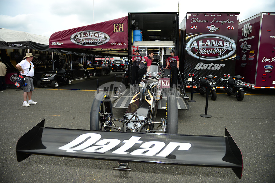 Jun. 1, 2012; Englishtown, NJ, USA: NHRA crew members for top fuel dragster driver Shawn Langdon during qualifying for the Supernationals at Raceway Park. Mandatory Credit: Mark J. Rebilas-