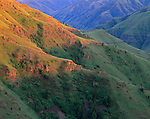 Zumwalt Prairie Preserve, OR:  Detail of evening light on the ridges of Camp Creek Canyon and Long Ridge. A Nature Conservancy Preserve