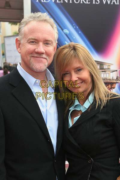 "JOHN DEBNEY & WIFE LOLA.""Zathura: A Space Adventure"" Los Angeles Premiere held at the Mann Village Theater.  .USA, United States.6th November 2005.Ref:ADM/ZL.half length with together married smiling posed.www.capitalpictures.com.sales@capitalpictures.com.© Capital Pictures..."