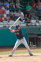 Salem Red Sox third baseman Jordan Betts (25) at bat during a game against the Down East Wood Ducks  at Grainger Stadium on April 16, 2017 in Kinston, North Carolina. Salem defeated Down East 9-2. (Robert Gurganus/Four Seam Images)