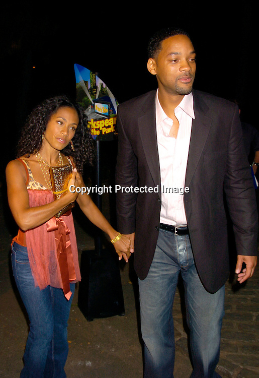 "Jada Pinkett Smith and Will Smith ..at the New York Premier of ""Shark Tale"" on September 27. 2004 at the Delacorte Theatre in Central Park. ..Photo by Robin Platzer, Twin Images"