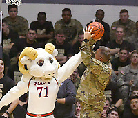 Navy defeats Army 68-59 in a Patriot League game on February 10, 2018 at Christl Arena in West Point, New York.  (Bob Mayberger/Eclipse Sportswire)