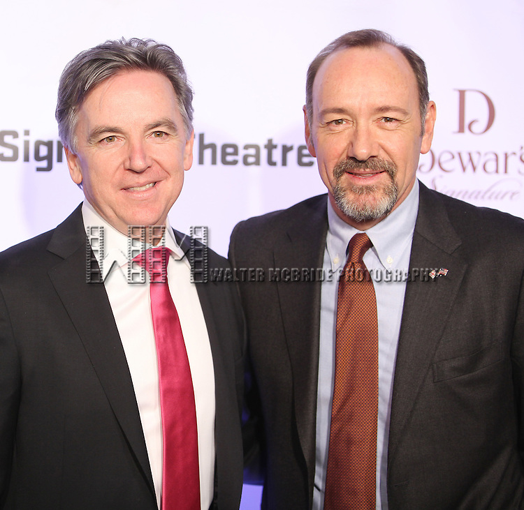 Kevin Spacey with Signature Founding Artistic Director, James Houghton attending The Signature Theatre Center Opening Gala Celebration honoring Edward Norton in New York City on 1/30/2012..attending The Signature Theatre Center Opening Gala Celebration honoring Edward Norton in New York City on 1/30/2012..