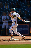 Nick Loftin (2) of the Baylor Bears follows through on his swing against the Missouri Tigers in game one of the 2020 Shriners Hospitals for Children College Classic at Minute Maid Park on February 28, 2020 in Houston, Texas. The Bears defeated the Tigers 4-2. (Brian Westerholt/Four Seam Images)