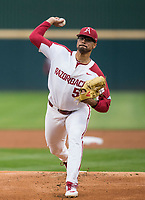 NWA Democrat-Gazette/BEN GOFF @NWABENGOFF<br /> Isaiah Campbell pitches for Arkansas in the 1st inning vs LSU Thursday, May 9, 2019, at Baum-Walker Stadium in Fayetteville.