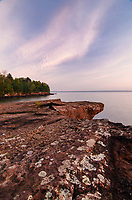 Morning light shows thin clouds over Lake Superior from a point at Big Bay State Park on Madeline Island in the Apostle Islands, Ashland County, Wisconsin