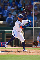 Willie Calhoun (5) of the Texas Rangers at bat during a Cactus League Spring Training game against the Los Angeles Dodgers on March 8, 2020 at Surprise Stadium in Surprise, Arizona. Rangers defeated the Dodgers 9-8. (Tracy Proffitt/Four Seam Images)