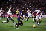 Rayo Vallecano's Alex Moreno (L) and Jordi Amat (R) and FC Barcelona's Luis Suarez during La Liga match between Rayo Vallecano and FC Barcelona at Vallecas Stadium in Madrid, Spain. November 03, 2018. (ALTERPHOTOS/A. Perez Meca)