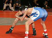 Vincent Pecora and Mike Vespa wrestle at the 103 weight class during the NY State Wrestling Championships at Blue Cross Arena on March 8, 2008 in Rochester, New York.  (Copyright Mike Janes Photography)