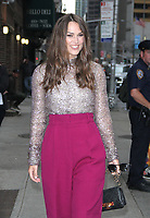 NEW YORK, NY - September 12: Keira Knightley at The Late Show with Stephen Colbert to talk about new her new movie Colette in New York September 12, 2018 <br /> CAP/MPI/RW<br /> ©RW/MPI/Capital Pictures