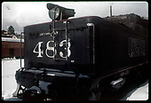 Close view of rear of tender of C&amp;TS #483 K-36 in Chama yard.<br /> C&amp;TS  Chama, NM