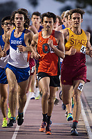 (Photo by Eddie Ruvalcaba, Image of Sport)<br /> <br /> The Occidental men's and women's track and field teams completed competition at the SCIAC Championships at Redlands on Saturday, April 28, 2018.<br /> <br /> The men's and women's teams both finished third at the meet and will finish third overall in the conference standings. Austin DeWitz, Zach Greenleaf and Brody Barkan led the men's team with individual SCIAC Championships. Zach Greenleaf won the pole vault, Austin DeWitz won his second consecutive high jump and Brody Barkan won the 1,500m. LaShauna Porter and Sabrina Degnan led the Oxy women with multiple All­SCIAC performances. Degnan won the javelin, finished second in the hammer and third in the shot put. Porter ran a leg on the Oxy's SCIAC Championship 4x400m relay, was second in the 200m, third in the 100m and ran a leg on Oxy's third­place 4x100m relay. Porter's time of 11.98 in the 100m beat Oxy's school record of 12.04. Oxy's 4x100 time of 48.09 is second best in program history, just 0.6 off the school record.<br /> <br /> (Photo by Eddie Ruvalcaba, Image of Sport)