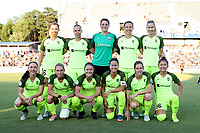 Cary, North Carolina  - Saturday August 05, 2017: Seattle Reign starters. Front row (from left): Kiersten Dallstream, Jessica Fishlock, Christine Nairn, Lauren Barnes, Rebekah Stott, Nahomi Kawasumi; Back row (from left): Lindsay Elston, Merritt Mathias, Haley Kopmeyer, Rachel Corsie, and Beverly Yanez prior to a regular season National Women's Soccer League (NWSL) match between the North Carolina Courage and the Seattle Reign FC at Sahlen's Stadium at WakeMed Soccer Park. The Courage won the game 1-0.