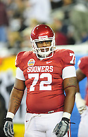 Jan. 1, 2011; Glendale, AZ, USA; Oklahoma Sooners offensive lineman (72) Tavaris Jeffries against the Connecticut Huskies in the 2011 Fiesta Bowl at University of Phoenix Stadium. The Sooners defeated the Huskies 48-20. Mandatory Credit: Mark J. Rebilas-.