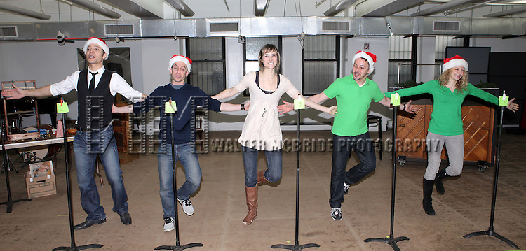 Justin Guarini, Garth Kravits, Jill Paice, Mark Price & Lauren Molina attending the Rehearsal for the Bucks County Playhouse production of 'It's a Wonderful Life - A Live Radio Play' at their rehearsal studios in New York City on December 5, 2012.