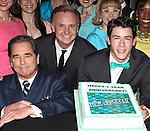 Beau Bridges, Cleve Asbury, Nick Jonas.backstage with the cast of 'How To Succeed In Business Without Really Trying' Celebrating their 1 Year on Broadway at  the Al Hirschfield Theatre  in New York on 3/28/2012 © Walter McBride/WM Photography