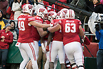 Wisconsin Badgers celebrate a touchdown during an NCAA College Big Ten Conference football game against the Iowa Hawkeyes Saturday, November 11, 2017, in Madison, Wis. The Badgers won 38-14. (Photo by David Stluka)