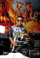 Oct. 31, 2008; Las Vegas, NV, USA: NHRA funny car driver Tony Pedregon poses for a portrait prior to qualifying for the Las Vegas Nationals at The Strip in Las Vegas. Mandatory Credit: Mark J. Rebilas-