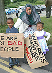 Asylum seekers, Safia Sharif with her children Aicha and Madhi in Mosney,  Co Meath are protesting this morning as 150 people are being moved to alternative accommodation...Photo NEWSFILE/Jenny Matthews.(Photo credit should read Jenny Matthews/NEWSFILE)....This Picture has been sent you under the condtions enclosed by:.Newsfile Ltd..The Studio,.Millmount Abbey,.Drogheda,.Co Meath..Ireland..Tel: +353(0)41-9871240.Fax: +353(0)41-9871260.GSM: +353(0)86-2500958.email: pictures@newsfile.ie.www.newsfile.ie.FTP: 193.120.102.198.