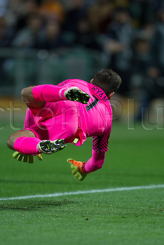 01.09.2016. nib Stadium, Perth, Australia. World Cup Football Qualifier. Australia versus Iraq. Australian goalkeeper Mathew Ryan dives to make a save during the first half.