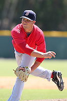 Boston Red Sox minor league player Garrett Rau during a spring training game vs the Baltimore Orioles at the Buck O'Neil Complex in Sarasota, Florida;  March 22, 2011.  Photo By Mike Janes/Four Seam Images