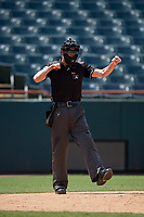 Umpire Sean Shafer-Markle during an Eastern League game between the Binghamton Rumble Ponies and Bowie Baysox on August 21, 2019 at Prince George's Stadium in Bowie, Maryland.  Bowie defeated Binghamton 7-6 in ten innings.  (Mike Janes/Four Seam Images)
