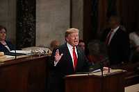 United States President Donald J. Trump delivers his second annual State of the Union Address to a joint session of the US Congress in the US Capitol in Washington, DC on Tuesday, February 5, 2019.<br /> CAP/MPI/RS<br /> ©RS/MPI/Capital Pictures