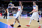 Real Madrid's Sergio Llull and Luka Doncic during Liga Endesa match between Real Madrid and FC Barcelona Lassa at Wizink Center in Madrid, Spain. March 12, 2017. (ALTERPHOTOS/BorjaB.Hojas)