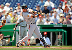 8 June 2008: San Francisco Giants' center fielder Aaron Rowand at bat against the Washington Nationals at Nationals Park in Washington, DC. The Giants rallied to defeat the Nationals 6-3 in their third consecutive win of the 4-game series...Mandatory Photo Credit: Ed Wolfstein Photo