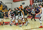 WATERBURY, CT. 15 March 2018-031518BS432 -  Sacred Heart players celebrate as they beat Windsor in the Div I semi-finals between Sacred Heart vs Windsor at University of Hartford on Thursday evening. Sacred Heart won in a thriller 59-58 and advances to the finals at Mohegan Sun. Bill Shettle Republican-American