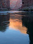 Glowing cliffs reflect into the Colorado River at sunrise as viewed from the Tatahatso Camp in the Grand Canyon, Grand Canyon National Park, Arizona, USA