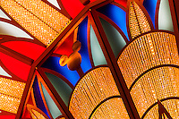 Chandelier in the art deco lobby atrium on the new Disney Dream cruise ship sailing between Florida and the Bahamas.