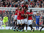 Luis Antonio Valencia of Manchester United is mobbed after scoring during the premier league match at the Old Trafford Stadium, Manchester. Picture date 17th September 2017. Picture credit should read: Simon Bellis/Sportimage