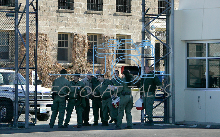Correctional officers say goodbye to each other at the end of their shifts at the Nevada State Prison in Carson City, Nev., on Wednesday, Jan. 4, 2012. The historic old facility, which dates back to the 1860's, is being closed due to budget cuts. .Photo by Cathleen Allison