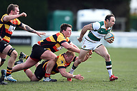 Will Harries of Ealing Trailfinders takes on the Richmond defence. Greene King IPA Championship match, between Richmond and Ealing Trailfinders on March 9, 2019 at the Richmond Athletic Ground in London, England. Photo by: Patrick Khachfe / Onside Images